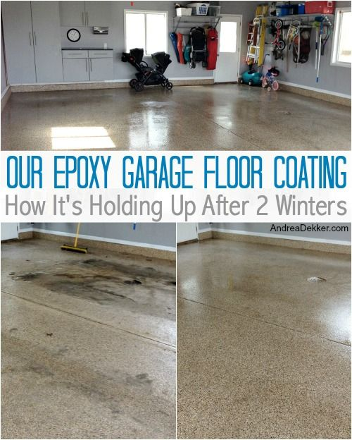 Our Epoxy Garage Floor Coating How It S Holding Up After 2 Winters Garage Floor Epoxy Epoxy Garage Floor Coating Garage Floor Coatings