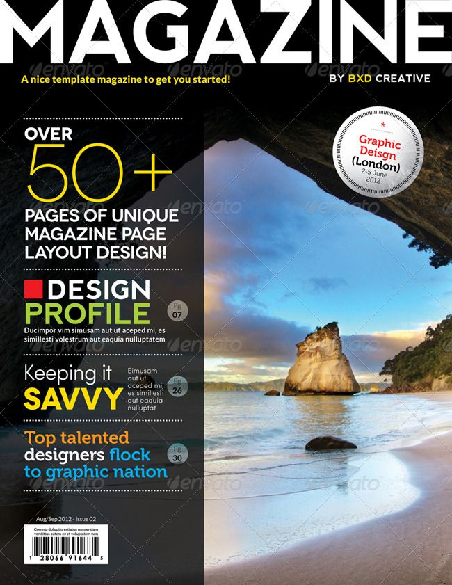 Magazine Template Indesign 56 Page Layout Graphic Design