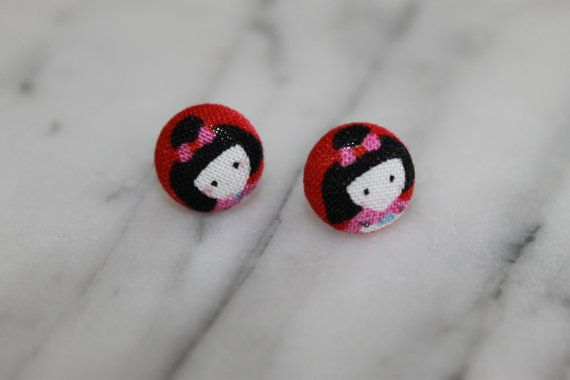 Japanese Kokeshi Doll button post earrings so by Baby Raindrops, $5.95 at www.babyraindrops.etsy.com.