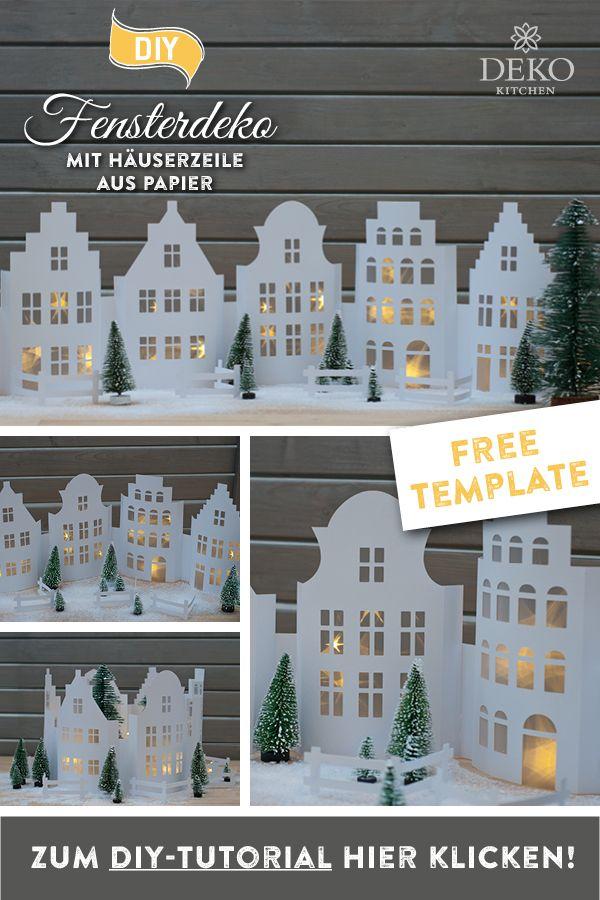 DIY: winterliche Fensterdeko mit hübscher Häuserzeile aus Papier