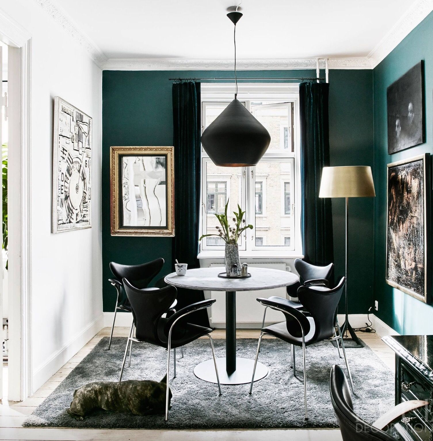•the dark green works well with touches of gold against it