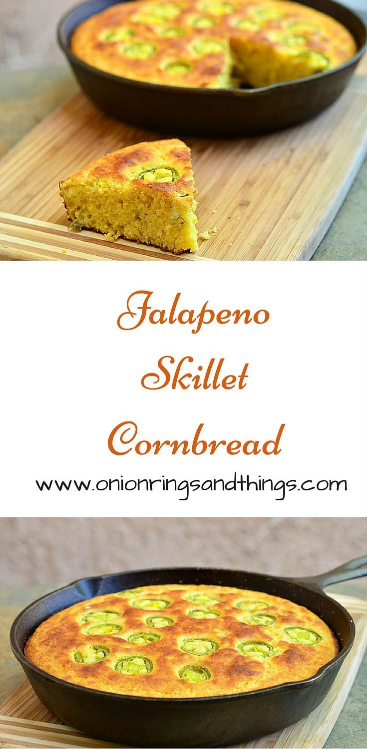 Soft, moist and studded with spicy peppers, this Jalapeno skillet cornbread is the perfect pair for hearty bowls of chili or stew