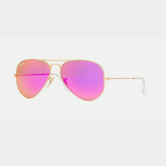 BRAND NEW PINK RAY BAN AVIATORS  BRAND NEW PINK RAY BAN AVIATORS   100 % AUTHENTICBRAND NEW- NO SCRATCHES OR WEAR!! ⛔⛔  These Ray Bans come with everything in the picture ;  The Ray Ban Aviators, Ray Ban brown case , Ray Ban booklet, Ray Ban cloth and Ray Ban box.  These were in super high demand so be quick to purchase because I will not be restocking them!! Ray-Ban Accessories Sunglasses