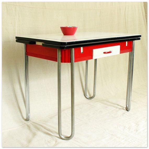 Vintage 1940s Kitchen Table Porcelain Enamel Draw Leaf Table Farmhouse Kitchen Red Black And White Vintage Kitchen Table Retro Kitchen Tables 1940s Kitchen