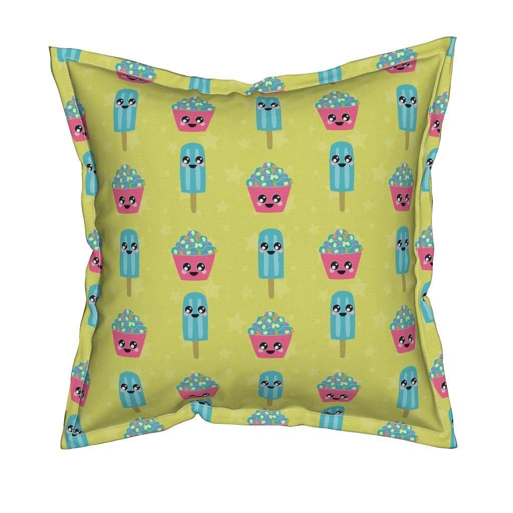 Colorful fabrics digitally printed by spoonflower kawaii
