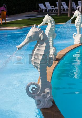 White Seahorse Statue Fountain Beside The Swimming Pool