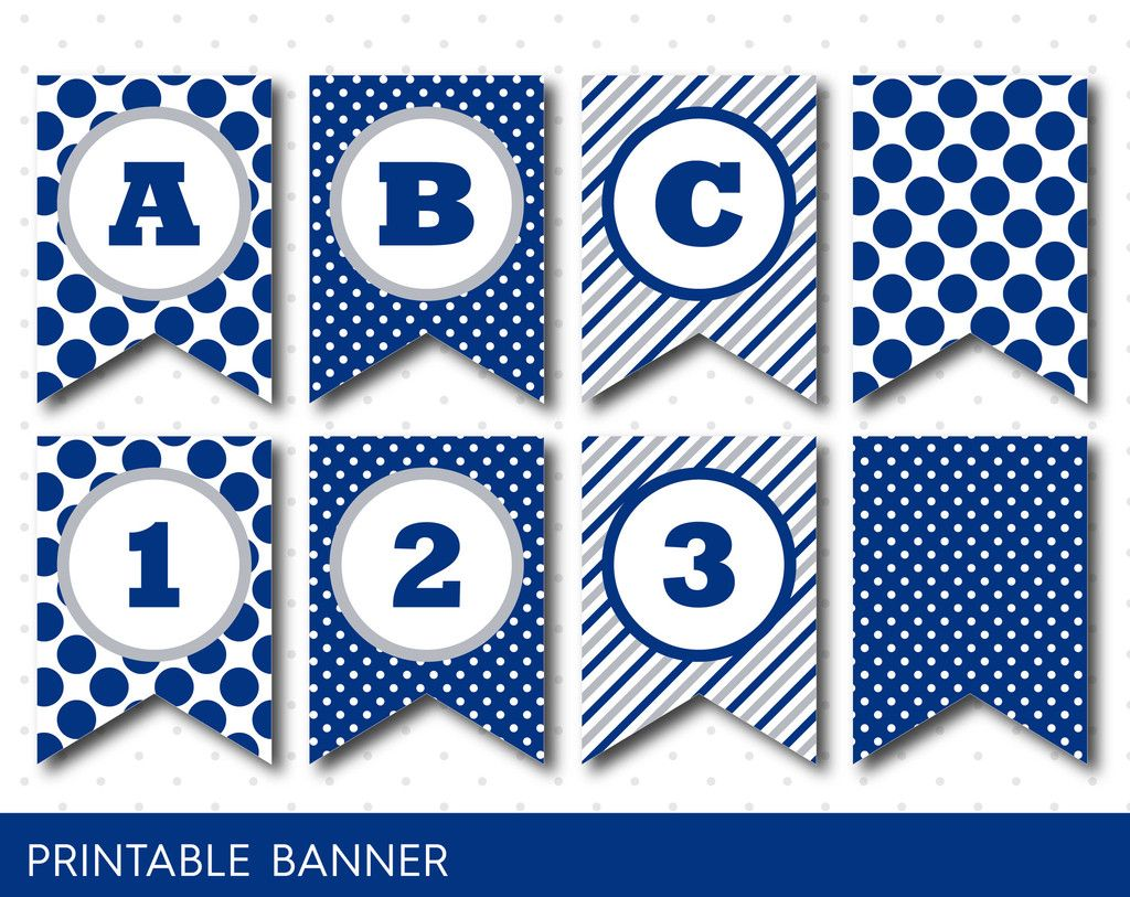 grey and navy blue banner party banner birthday banner baby