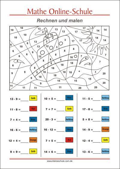 rechnen und malen addieren und subtrahieren zr 20 kostenlose arbeitsbl tter f r mathematik. Black Bedroom Furniture Sets. Home Design Ideas