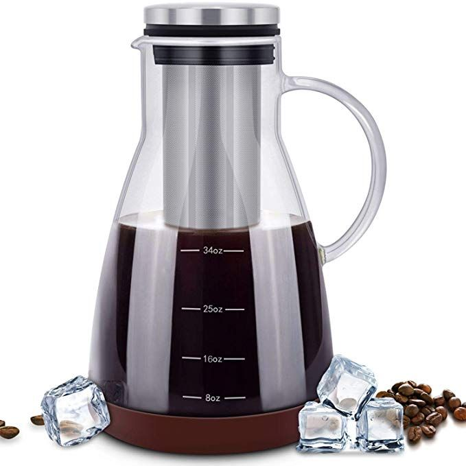 ESEOE Cold Brew Iced Coffee Maker,34oz Brewing Glass ...
