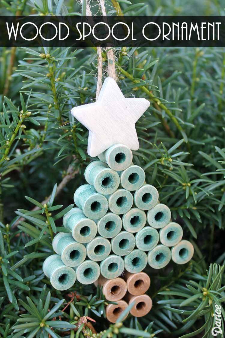 DIY Tree Ornament from Wood Spools
