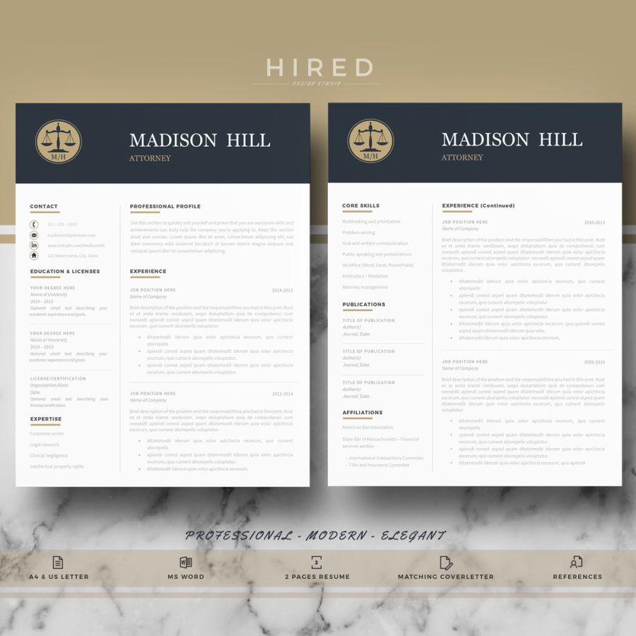 "Legal Resume Template For MS Word ""Madison"""