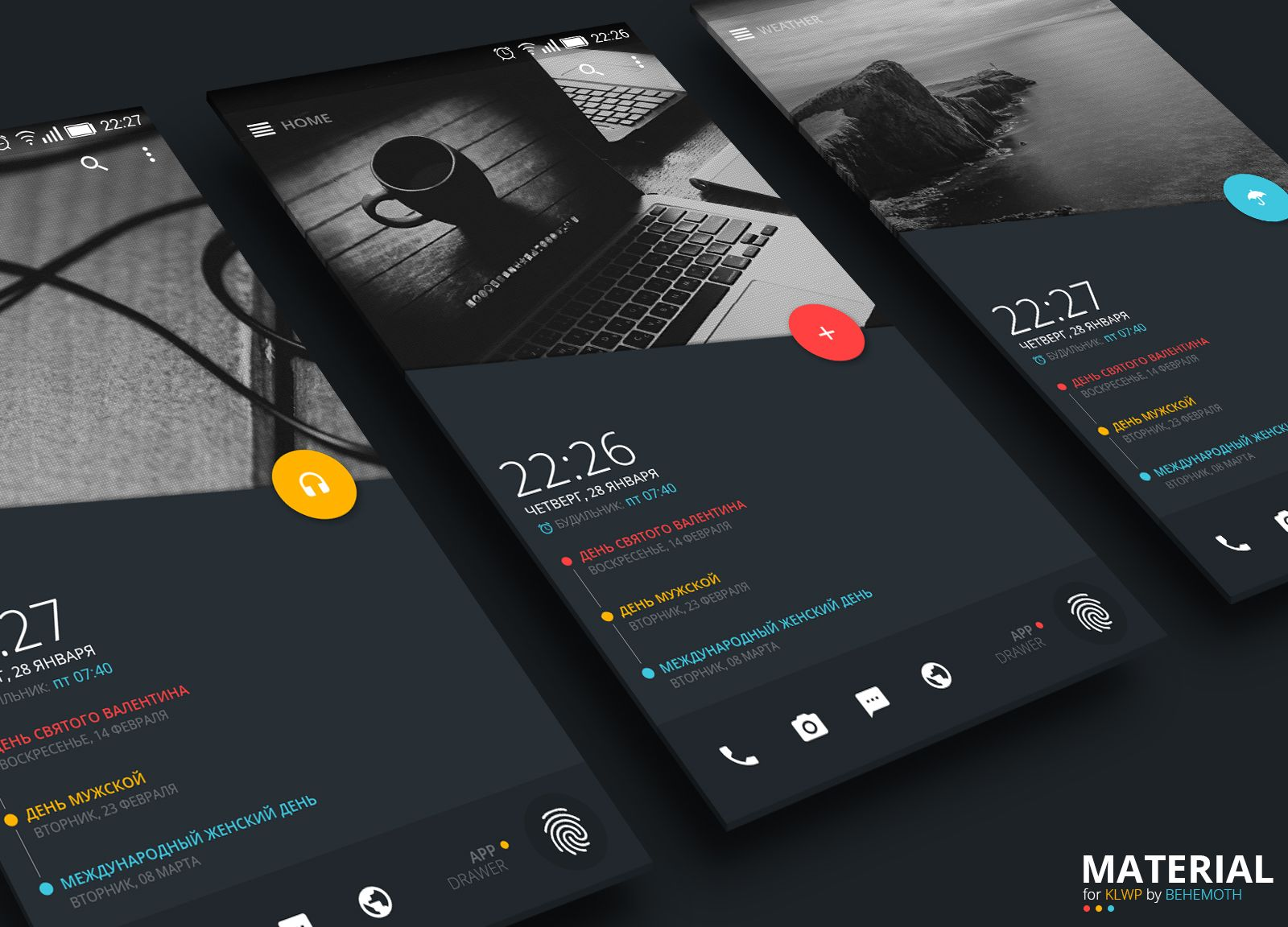 Material Theme for KLWP Android Homescreen by behemoth - MyColorscreen  Phone Themes, Android Theme,