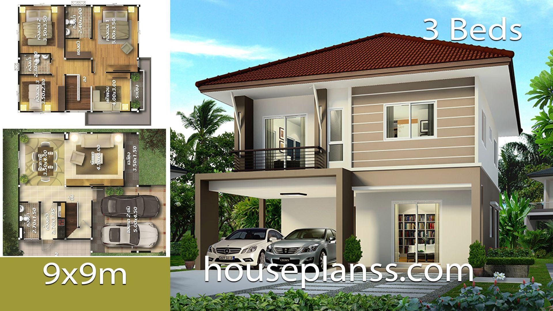 House Plans Idea 9x10 With 3 Bedrooms House Plans 3d In 2020 Home Design Plans House Design Bedroom House Plans