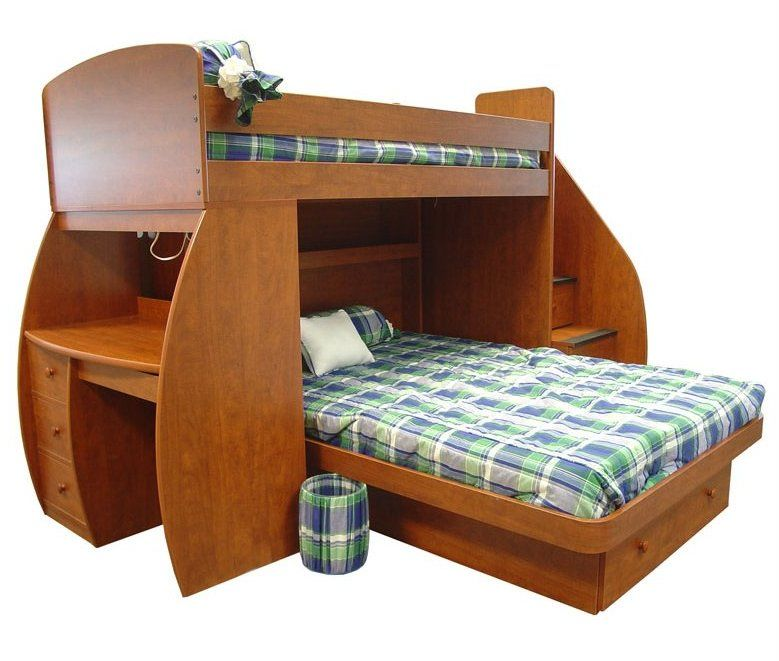 This uniquely shaped model features a lower bunk set perpendicular to the frame, plus stairs on the side with built-in drawers. A fully functional desk is mounted on the opposite side, with its own set of drawers.