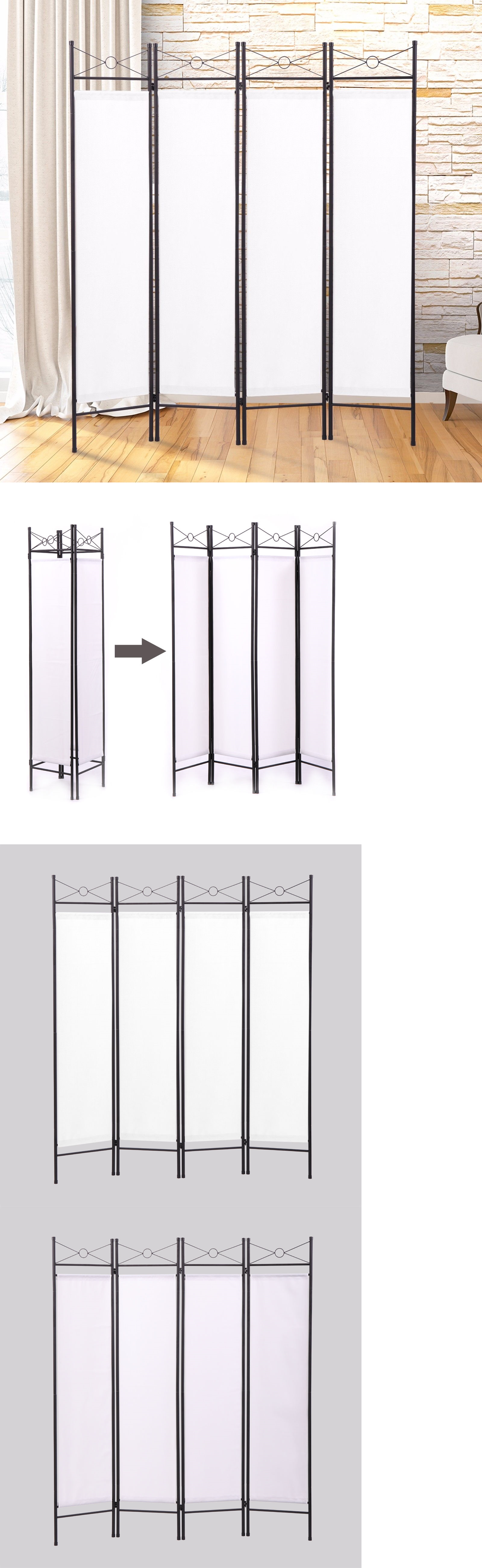 Screens and Room Dividers 31601: White 4 Panel Room Divider Privacy ...