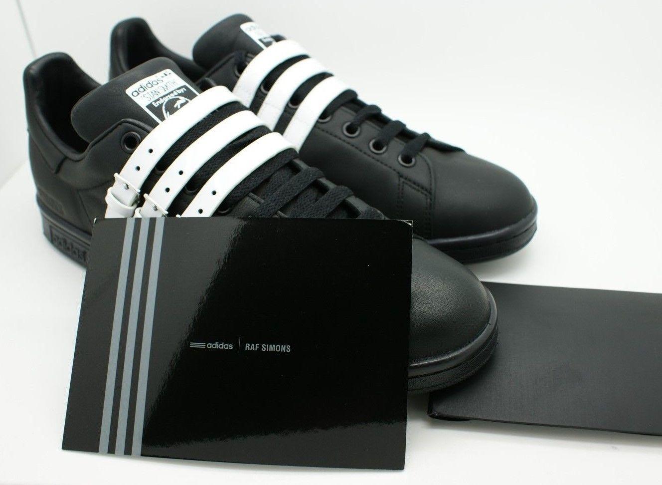 Adidas x Raf Simons Mens Stan Smith Strap Sneakers S75801 Black White 9.5 9  NIB 84e07813bf79