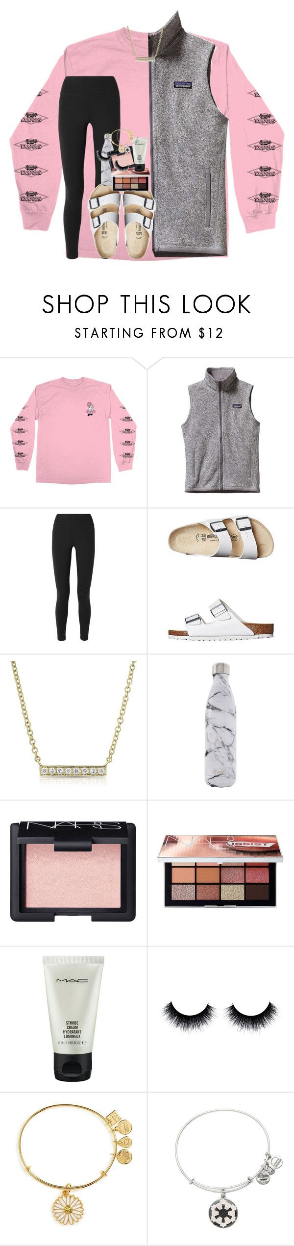 """2 hour delay at school:)"" by rxindrops-on-roses ❤ liked on Polyvore featuring Patagonia, NIKE, Birkenstock, Anne Sisteron, S'well, NARS Cosmetics, MAC Cosmetics and Alex and Ani"