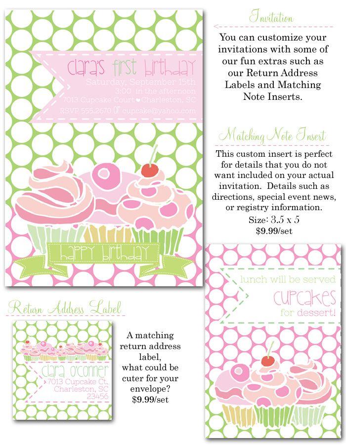 cupcake invites, pink and green, preppy invites, 1st birthday ...