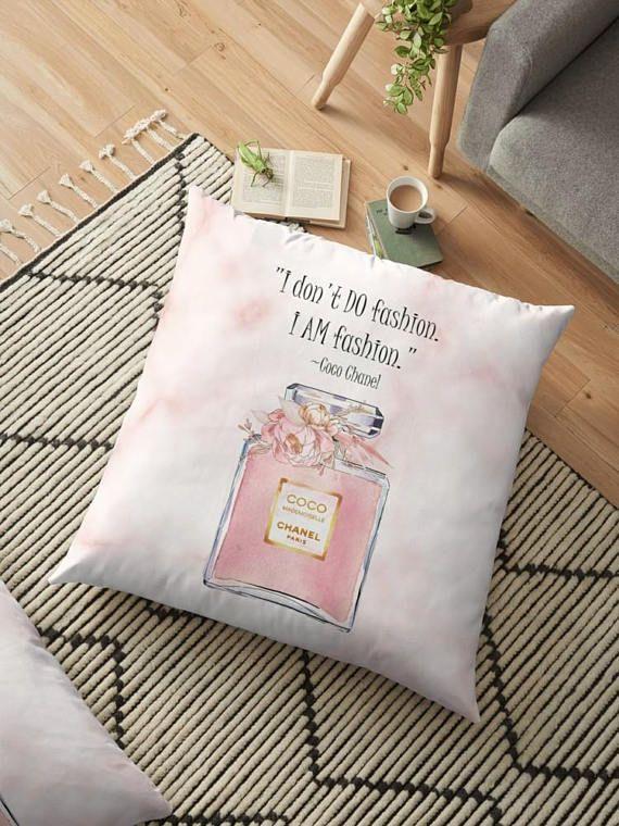 #FashionQuote #CocoChanel #ChanelHomeDecor Coco Chanel Quote Pillow Blush Pink Posh Pillow Cover I AM