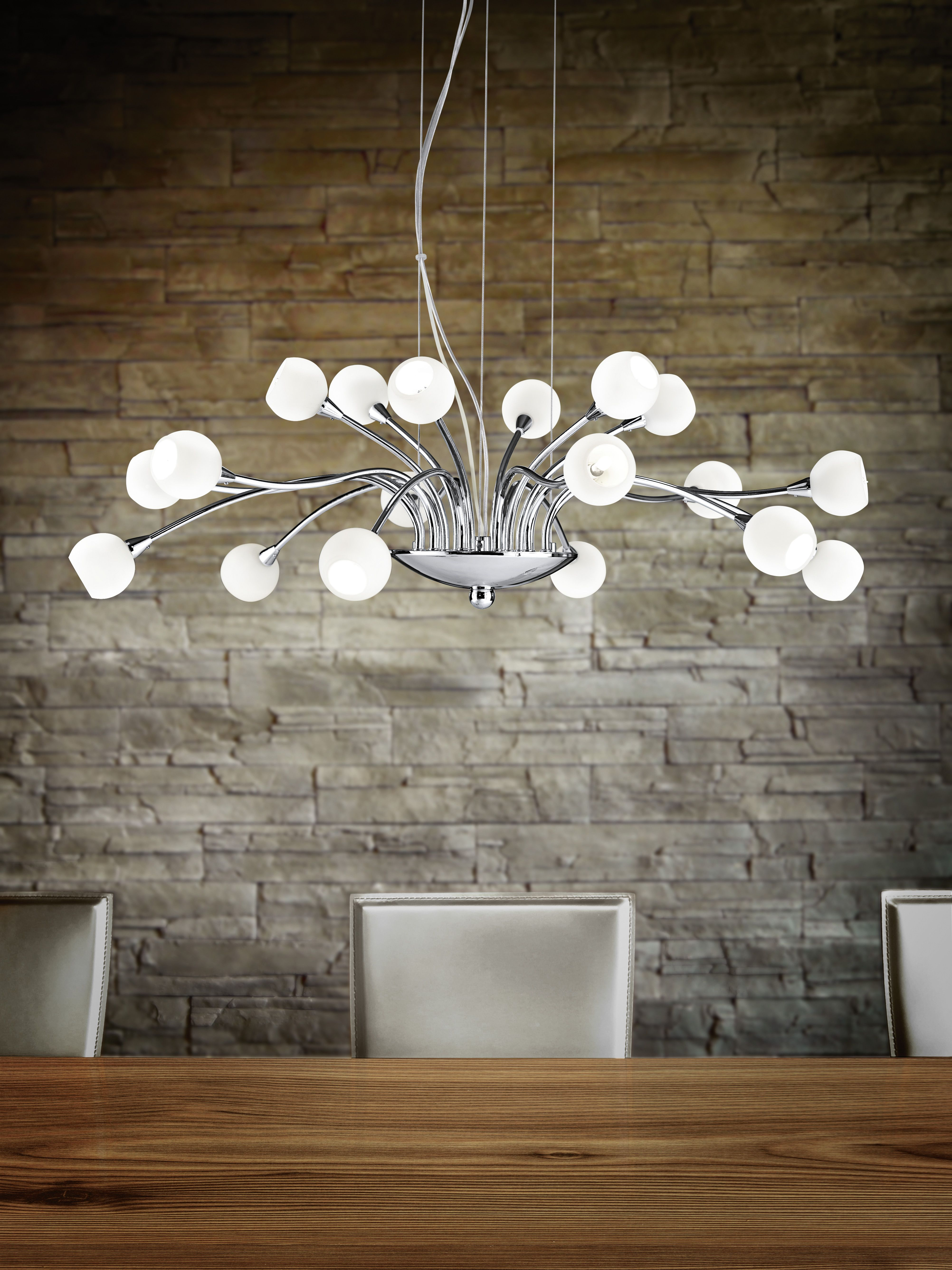 Eglo Lighting Romano 18 Lamp Pendant Light with Opal Glass & Steel Base