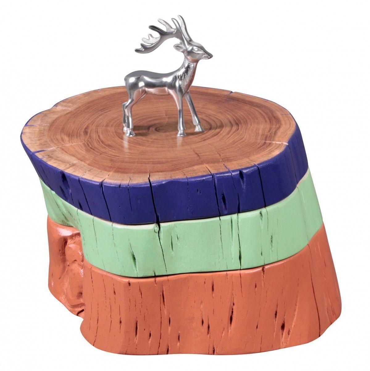 WOHNLING Beistelltisch Vollholz Akazie Holzscheiben Bunt Wohnzimmertisch Sitz Schemel Retro Couchtis Jetzt Bestellen Unter