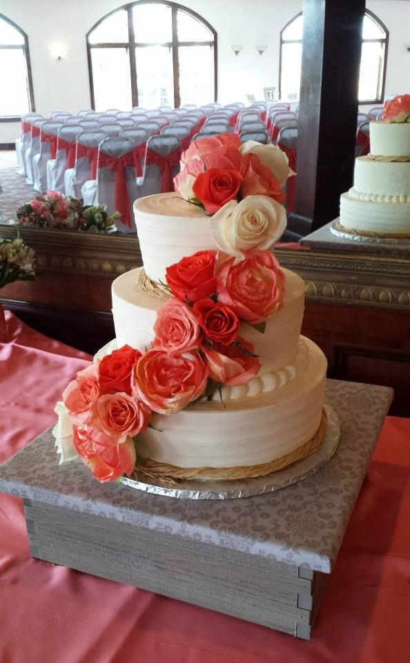 Three Tier Wedding Cake With Cascading Flowers By Tasty Layers Custom Cakes