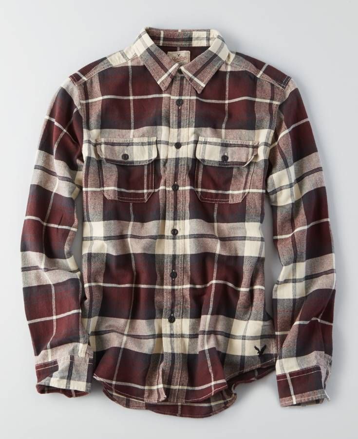 6ef6dd75 AE Long Sleeve Hooded Shirt Jacket in 2019   Men's   Flannel outfits ...