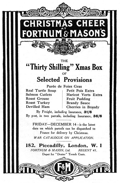 fortnum mason s christmas box for soldiers ww1