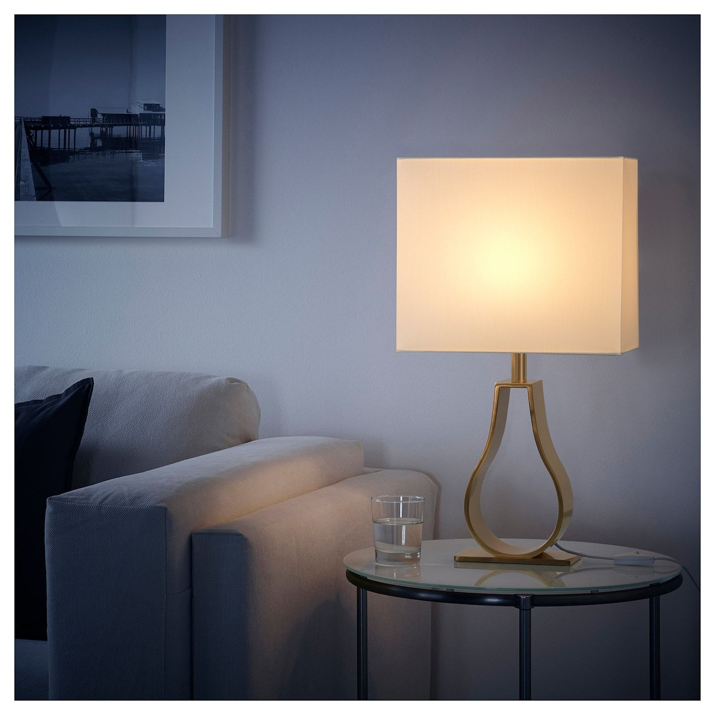 IKEA KLABB OffWhite, Brass Color Table lamp with LED bulb