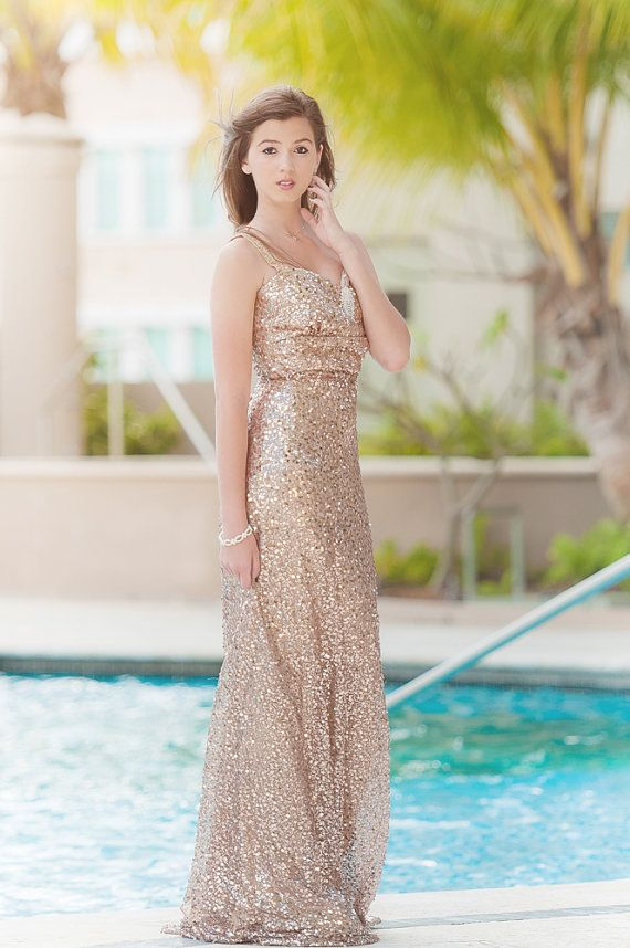 Gold Bridesmaid Dress. Elegant and Glamorous. Long Gold Sequin  DressElsaOriginals 4920e3e4dcec