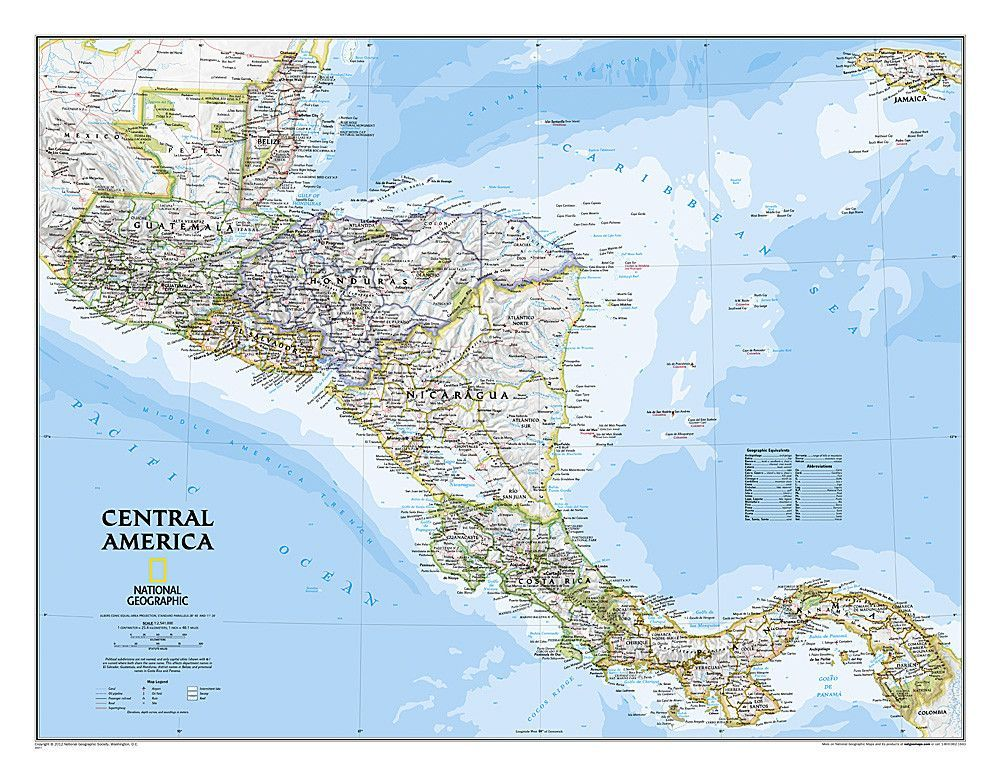Central America Classic Sleeved by National Geographic Maps