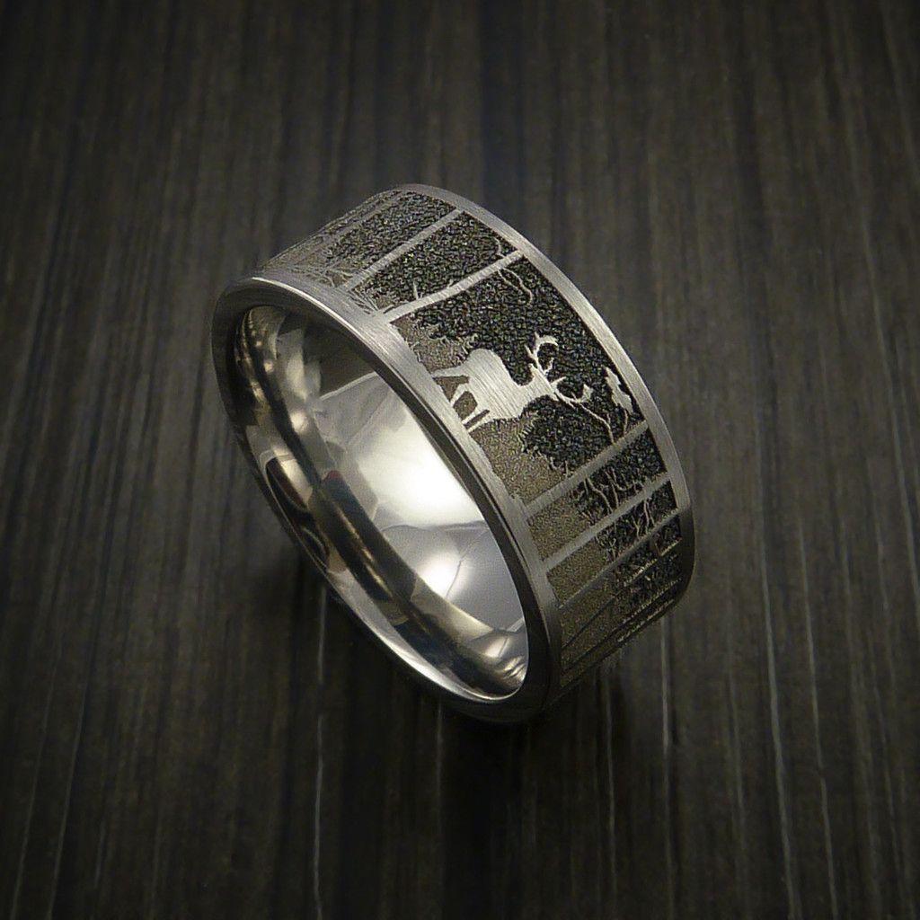 Elk in the Woods Hunter Wedding Ring Cobalt Chrome Band in