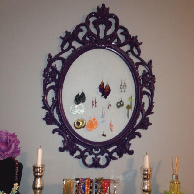 Ikea mirror frame (~$20) + purple spray paint+ plastic screening ...