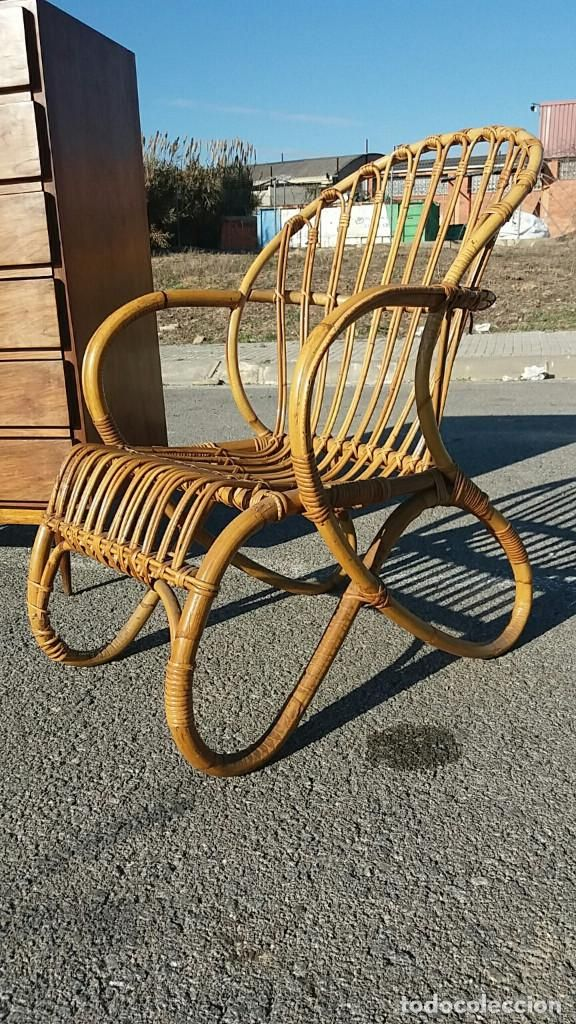 Sill n vintage a os 60 70 silla de brazos butaca de ca a - Sillas anos 60 ...