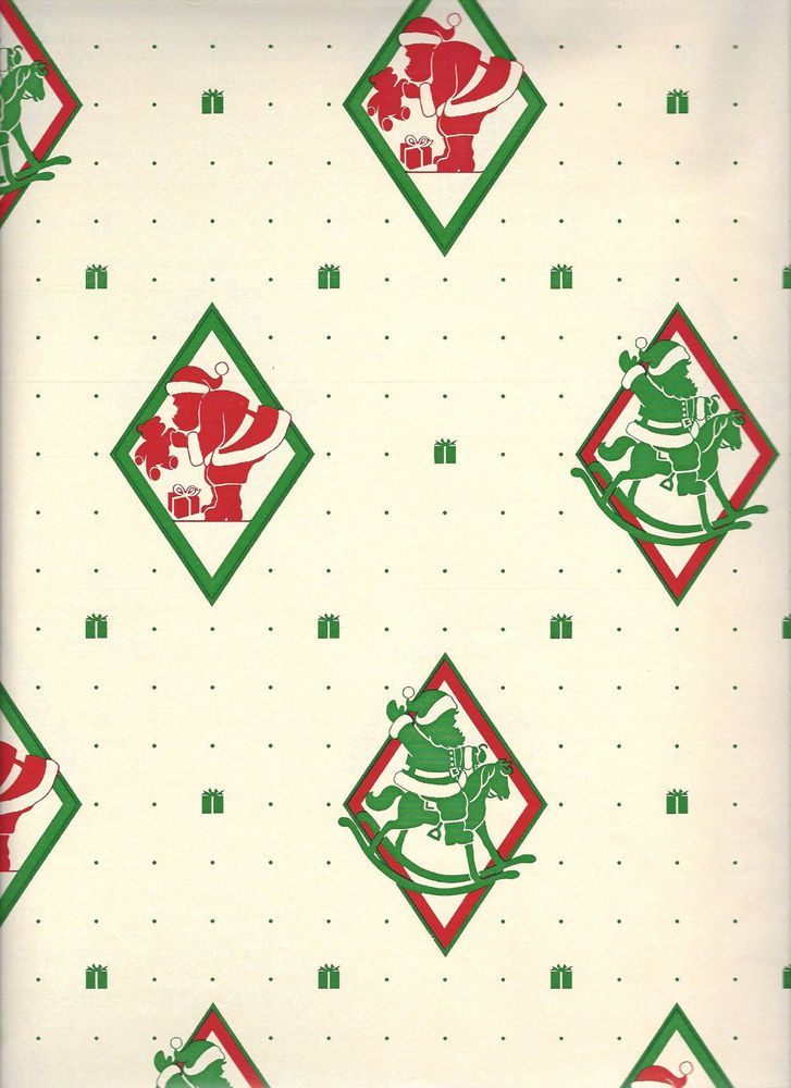 vintage christmas wrapping paper gift wrap red and green santa claus 29 x40