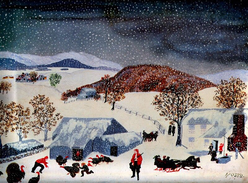 Catching the Thanksgiving Turkey (1943) by Grandma Moses