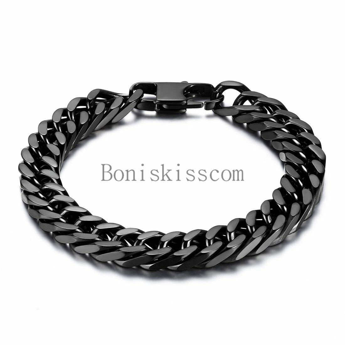 Durable Black Stainless Steel 10mm Heavy Wide Mens Curb Link Chain Br In 2020 Stainless Steel Bracelet Men Black Stainless Steel Bracelet Stainless Steel Link Bracelet