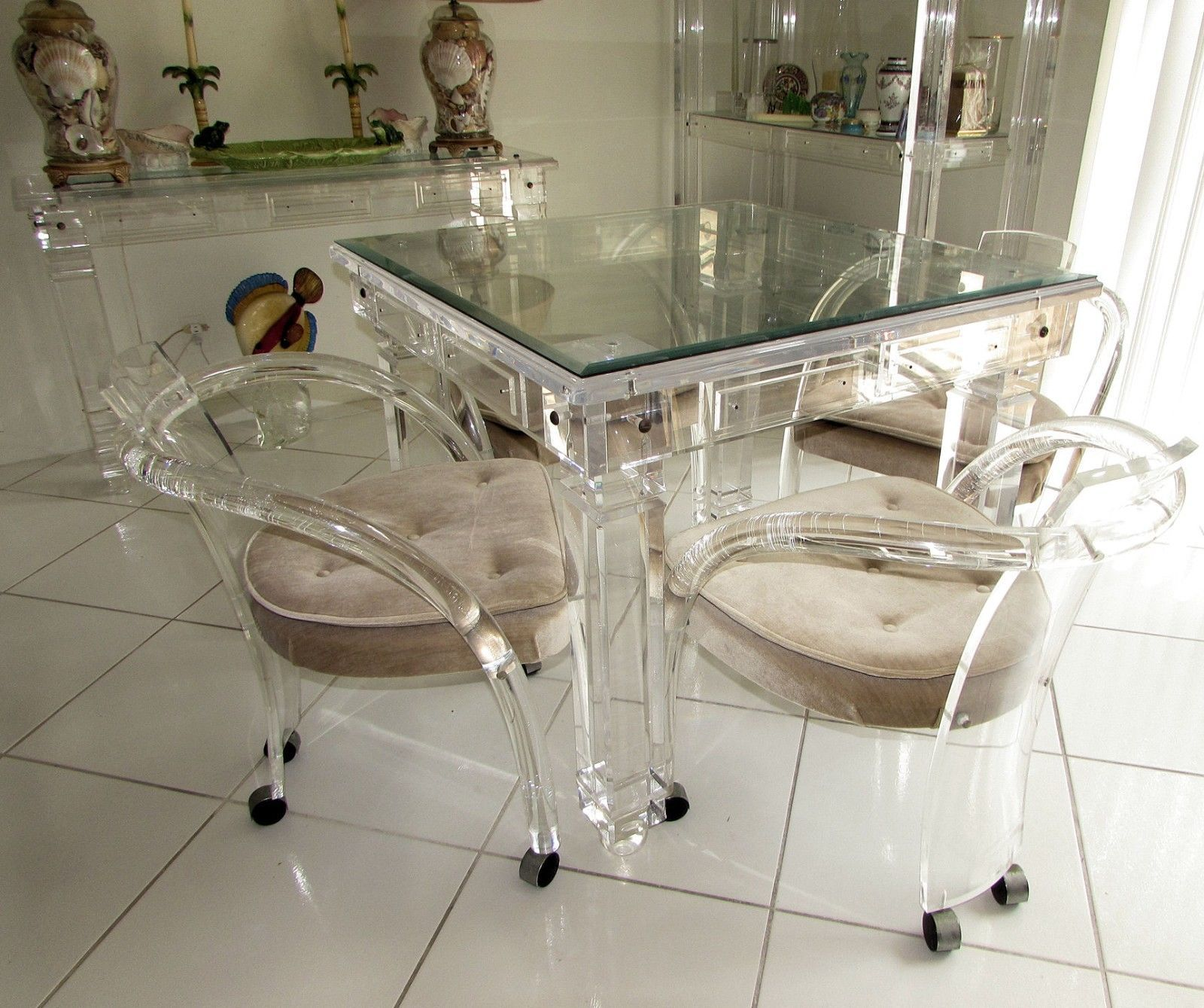 mid century modern hill manufacturing lucite dining chairs on