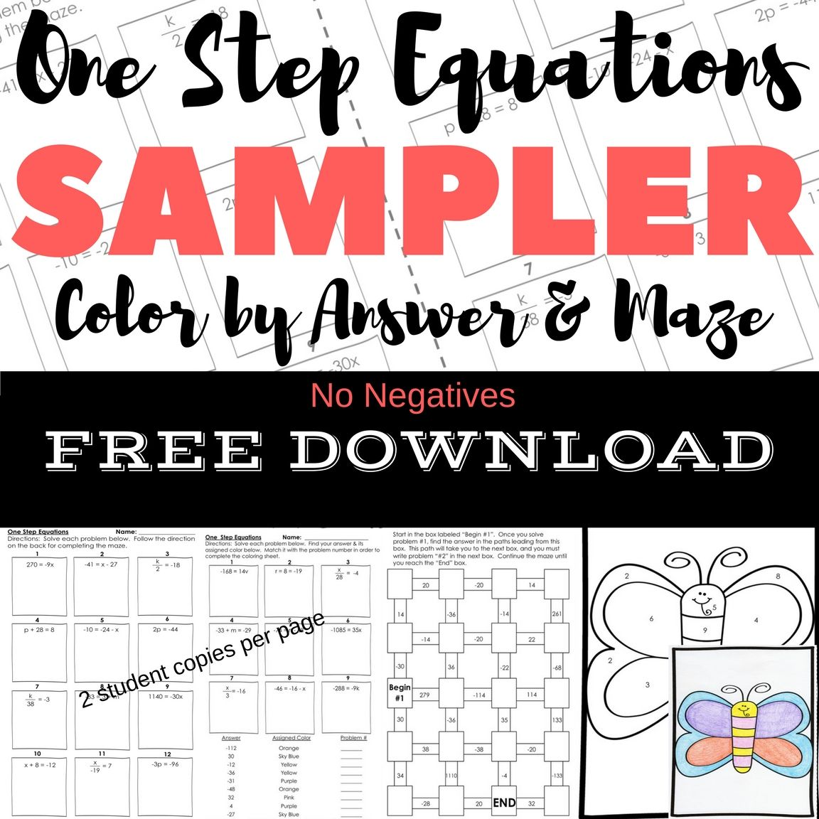 One Step Equations No Negatives Maze Amp Color By Answer