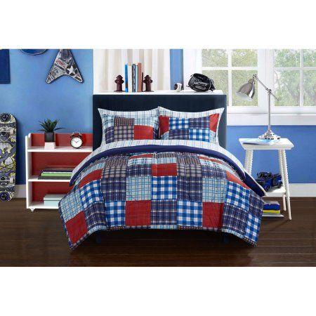 Mainstays Kids Mad Plaid Blue Bed In A Bag Bedding Set Walmart Com Kids Bedding Sets Toddler Comforter Sets Toddler Comforter Boys twin bedding in a bag