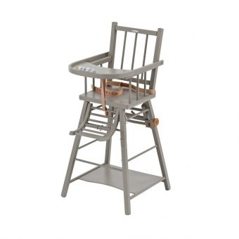 Chaise haute transformable Marcel Laqué gris clair