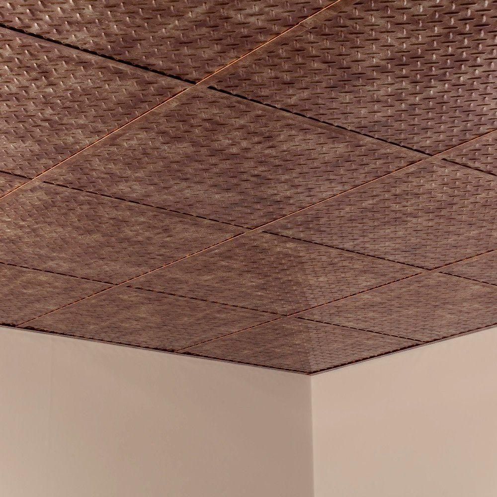 Diamond Plate - 2 ft. x 2 ft. Revealed Edge Lay-in Ceiling Tile in Bermuda Bronze & Diamond Plate - 2 ft. x 2 ft. Revealed Edge Lay-in Ceiling Tile in ...