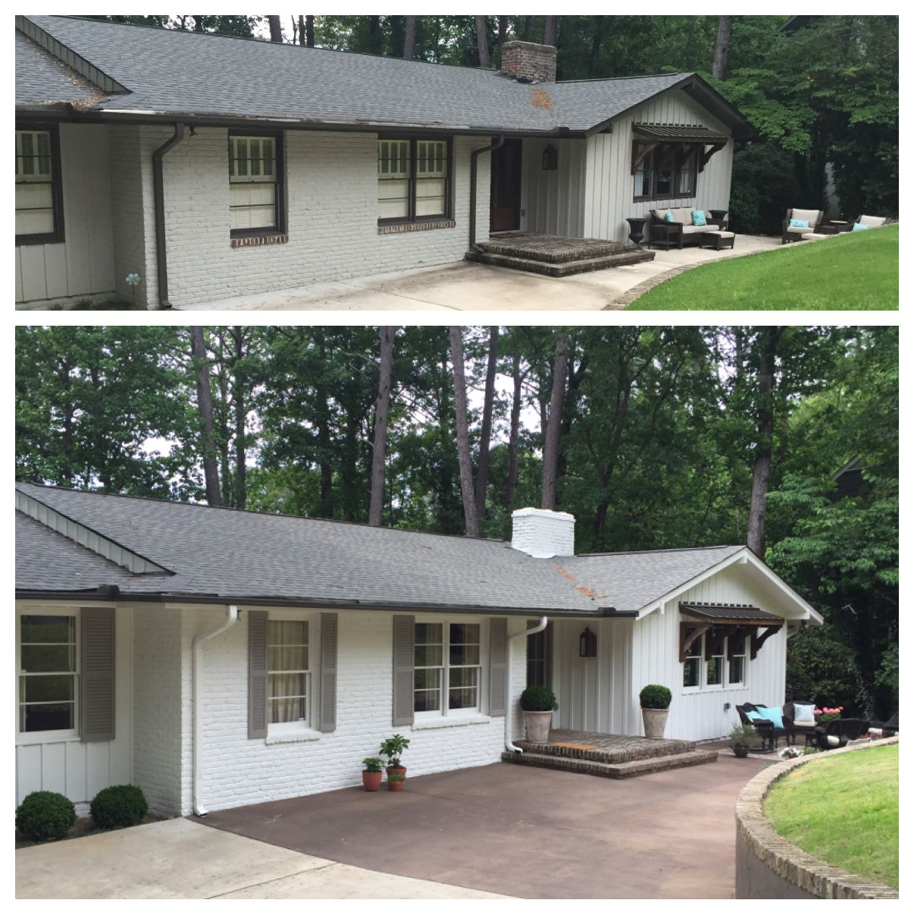 Before And After Of Our Diy Curb Appeal Project White Ranch House Makeover House Exterior Ranch House Exterior Porch Design