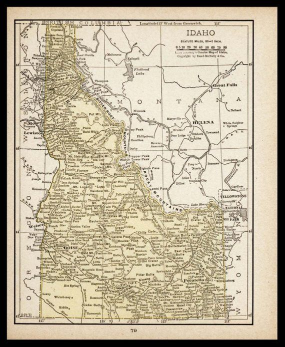 Small Antique Idaho Map of Idaho State Map Old Color Map Wall