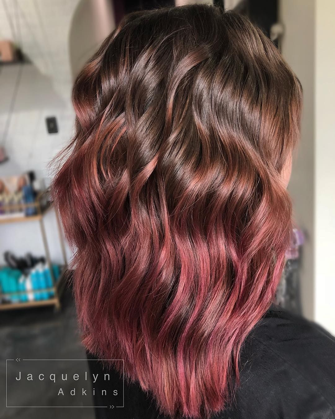 Rose Brown Hair With Dusky Pink Ends Dark Pink Hair Short Hair Styles Pink Ombre Hair