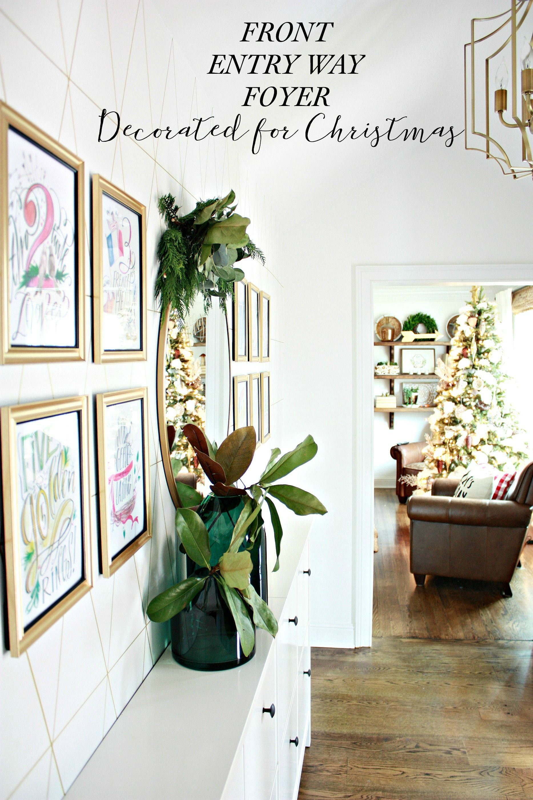 Front Entry Way Foyer Decorated for Christmas