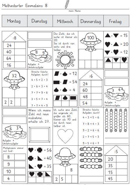 mathestarter 1x1 woche 7 und 8 schule pinterest woche mathe und schule. Black Bedroom Furniture Sets. Home Design Ideas