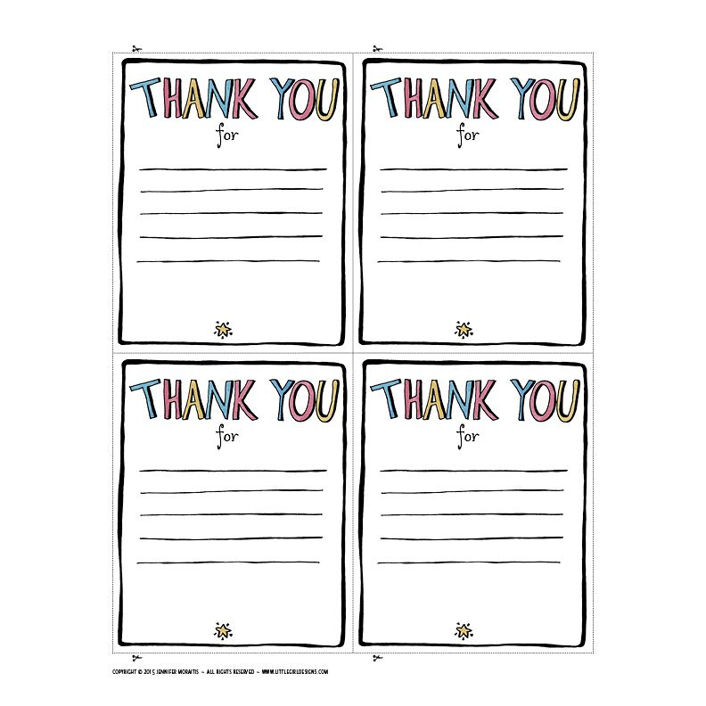 Thank You Printable  Note School And Teacher