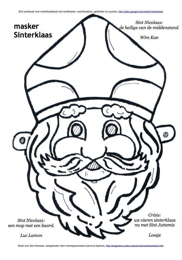 Masker Sinterklaas Kleurplaat Sint Werkboek Werkbladen Puzzels