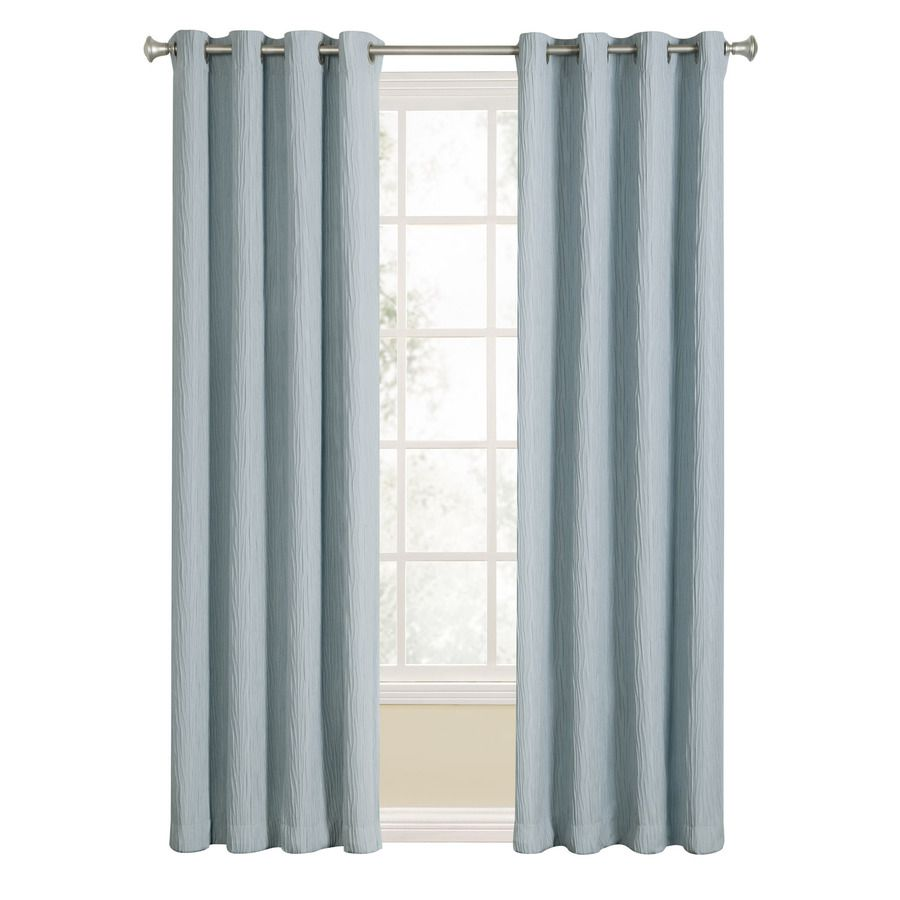 Allen roth aberleigh 84 in slate blue polyester grommet light filtering single curtain panel